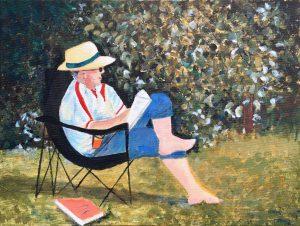 Val - son in garden inspired by Renoir