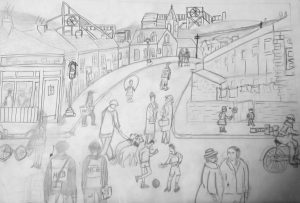 Sue L - pencil drawing of Yorkshire neighbourhood
