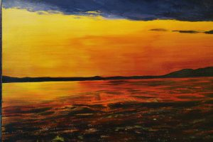 Sally Waters - Dusk on Pacific Rim, Vancouver Island - Acrylic